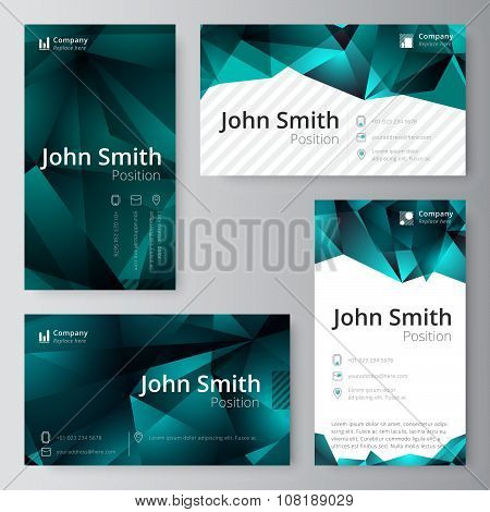 Business Card Template. Abstract, Low Polygon Style. Vector Stock.