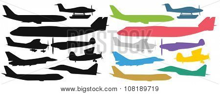 Civil aviation travel passenger air plane colorful vector silhouette.Civil commercial airplane flying vector illustration.Travel plane icons isolated on white background. Cargo transportation airplane