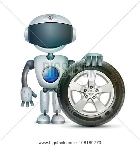 The robot with a car wheel, vector
