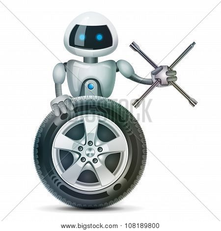 The robot with a wheel and a wheel brace, vector