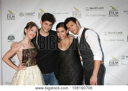 LOS ANGELES - SEP 25:  Megan Lee Joy, David Blue, Jessica Sherif, Dove Meir at the Catalina Film Festival Friday Evening Gala at the Avalon Theater on September 25, 2015 in Avalon, CA