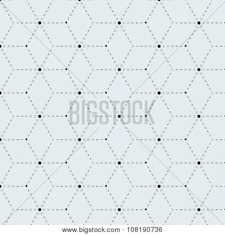 Rhombus A Dash Monochrome Seamless Pattern
