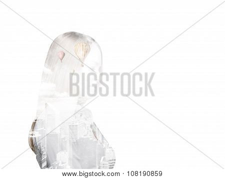 Side View Of Transparent Silhouette Of A Business Lady. New York City View Inside The Silhouette. Wh