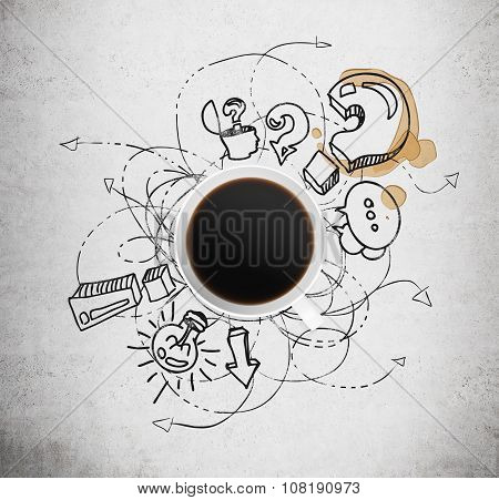 Top View Of A Cup Of Coffee And Black Business Icons With Question Mark On The Concrete Background.
