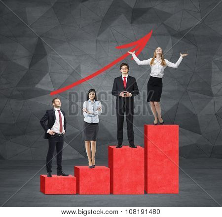 Stairs As A Huge Red Bar Chart Are In The Room With Concrete Floor And Contemporary Wall. Business P