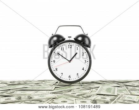 An Alarm Clock Is Settled On The Surface Which Is Covered By Dollar Notes. White Background. 3D Rend
