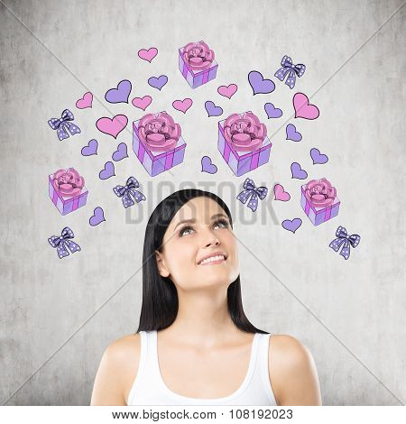 A Brunette Beautiful Woman Is Dreaming About The Gift. Purple Gift And Heart Icons Are Drawn On The