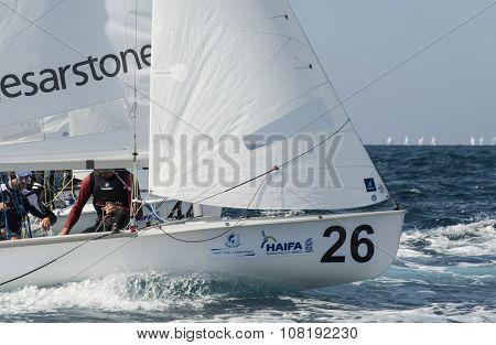 Haifa, Israel - October 16, 2015 : World Championship 2015, sailing schooners model 470, on October