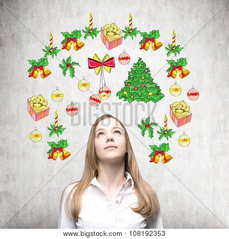A Portrait Of A Beautiful Lady Who Is Waiting For Christmas And New Year's Eve. Christmas-tree Decor