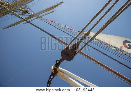 Old sailing ship masts sails and rigging