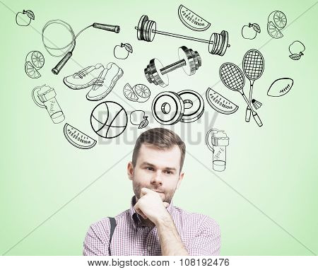 Pondering Handsome Man In Casual Clothes Is Thinking About His Choice Of Sport Activity. Sport Icons
