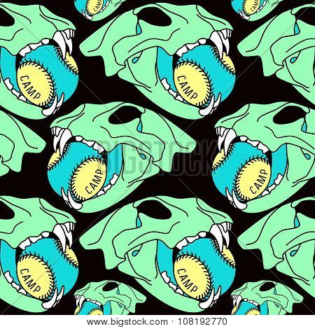 Skull Animal  Seamless Pattern