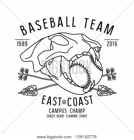 Skull Animal. Baseball Team Emblem