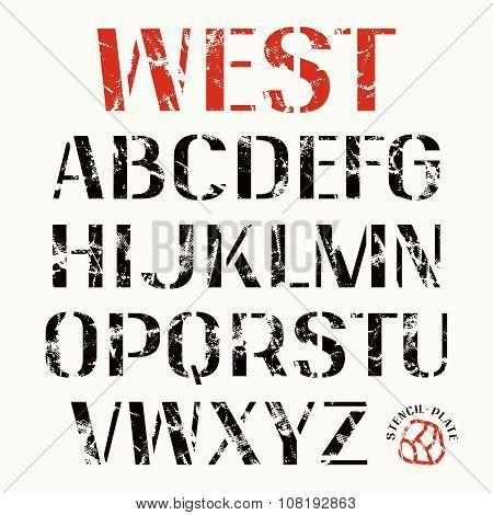 Uppercase Stencil-plate Sans Serif Font