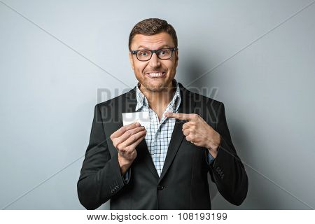 Fun concept for handsome young businessman