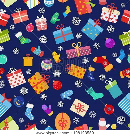 Seamless Pattern Of Colorful Gift Boxes, Socks And Mittens