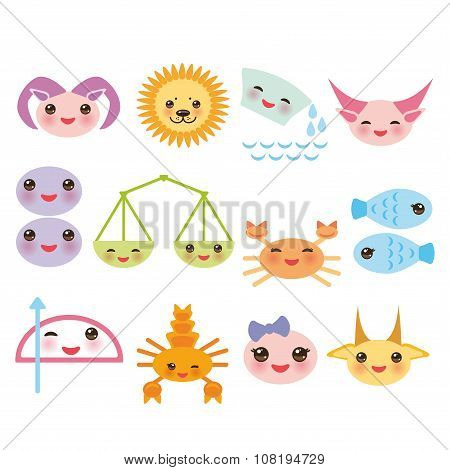 Funny Kawaii zodiac sign, astrological set virgo aries, gemini, cancer aquarius taurus leo, libra, s