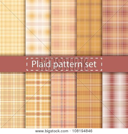 Plaid Pattern Set Seamless Background