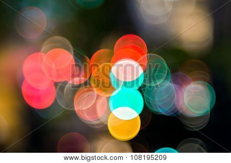 Bokeh Of The Color Night Light, Blurred Background