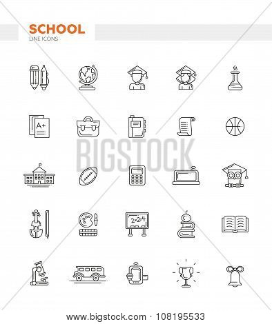 Set of school, college line flat design icons and infographics elements. Back to school