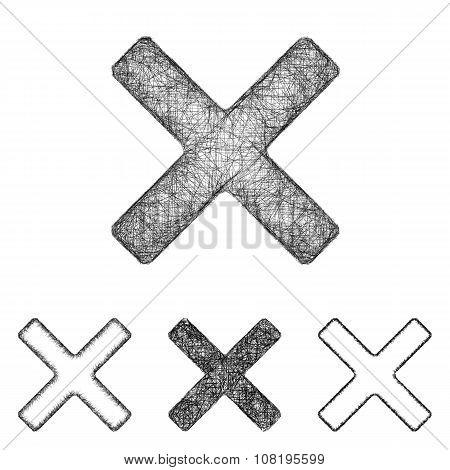 Cross icon set - sketch line art