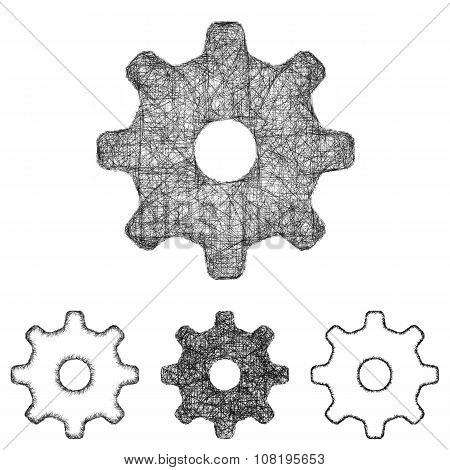 Settings, cogwheel icon set - sketch line art