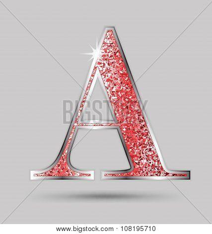 A Red Garnet Glitter Upper Case Letter