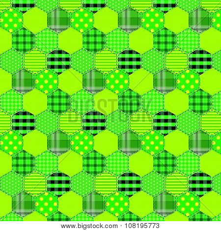 Seamless Pattern Patchwork Green Fabrics Hexagon