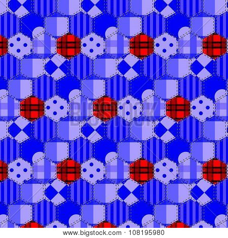 Seamless Pattern Patchwork Purple Fabrics Hexagon