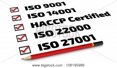 List of ISO standards
