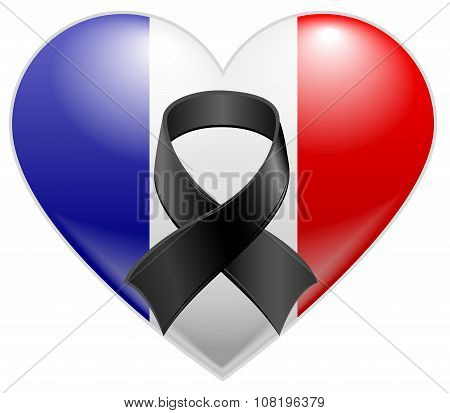 French flag heart with black mourning ribbon