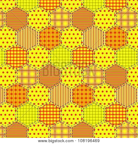 Seamless Pattern Patchwork Yellow Fabrics Hexagon