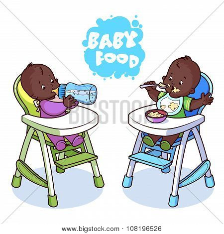 Two Kids In Baby Highchair.