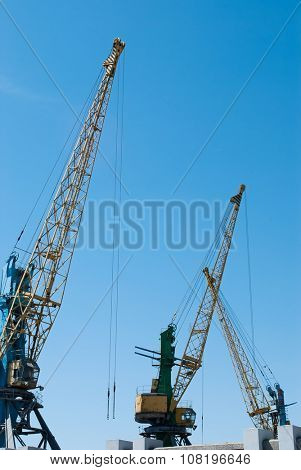 Cargo cranes on the water. landscape