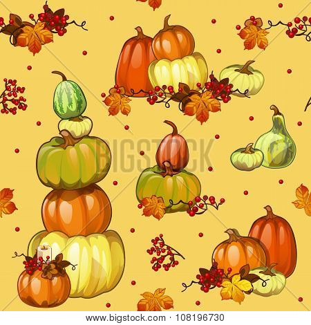 Autumn background with pumpkins for a poster