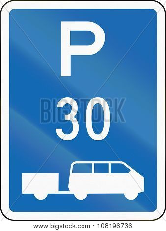New Zealand Road Sign - Parking Zone For Shuttles With Time Limit