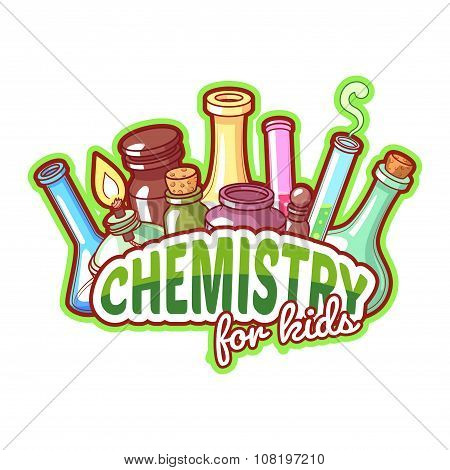 Chemistry Title With Chemical Flasks On A White Background