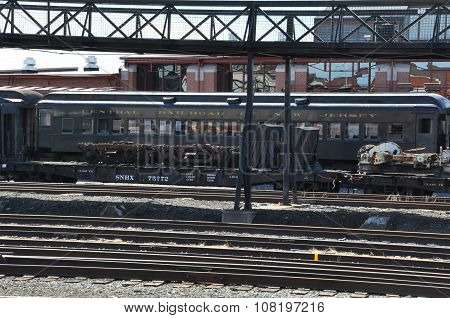 Trains at the Steamtown National Historic Site in Scranton, PA