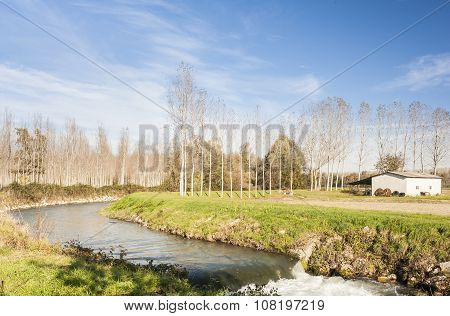 Agricultural Landscape With River..