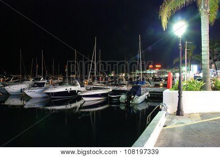 Puerto Banus marina at night.