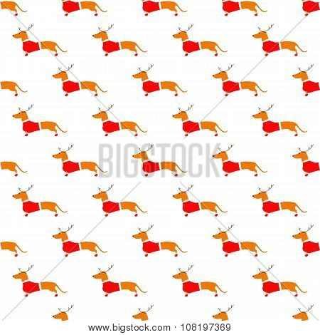 Pattern With Dachshund In Reindeer Horns And Christmas Suit