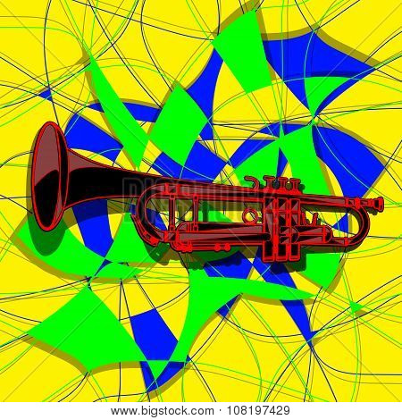 Template Trumpet In The Avant-garde Background
