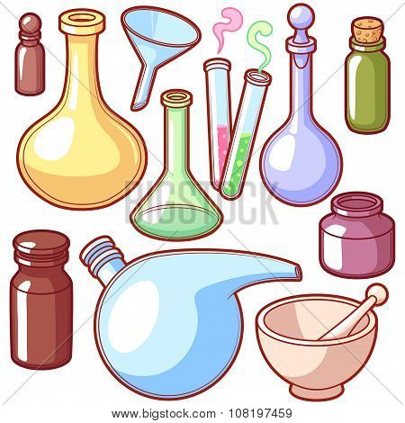 Chemical Flasks. Isolated On A White Background.