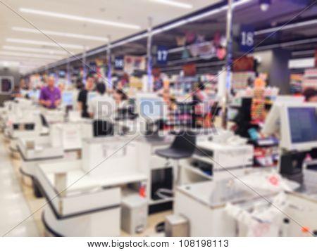 Blur Cashier Counter In The Supermarket