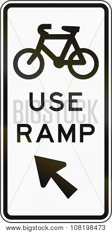 New Zealand Road Sign - Sign Advising Cyclist To Use The Ramp