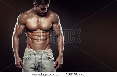 Strong Athletic Man Fitness Model Torso Showing Six Pack Abs., Copyspace