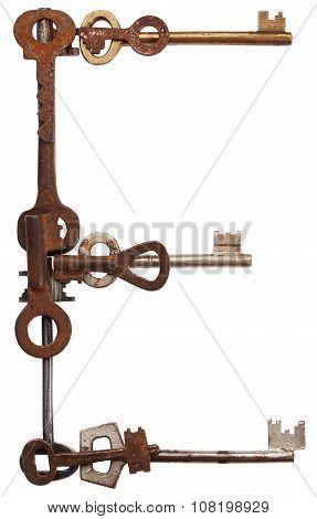 Alphabet from old keys. Letter E