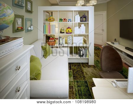 Modern Children's Room With White Sofa And Shelves.