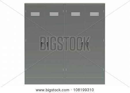 Grey Metal Lockers Closeup