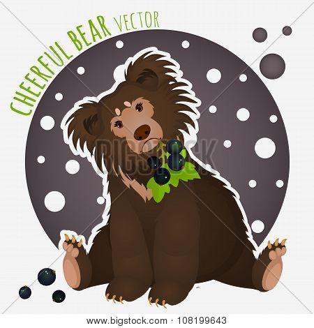 Shaggy bear with black currants in the teeth